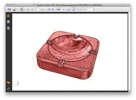 Un cendrier en 3D présenté dans un PDF à la norme PDF/E