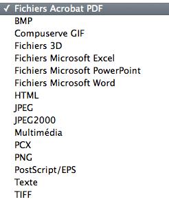 Formats de fichiers importables avec Acrobat