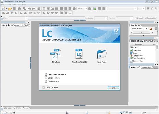 Adobe LiveCycle Designer, écran d'accueil