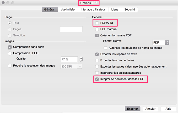 Les options d'exportation en PDF d'OpenOffice
