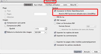 Les options d'exportation en PDF de LibreOffice