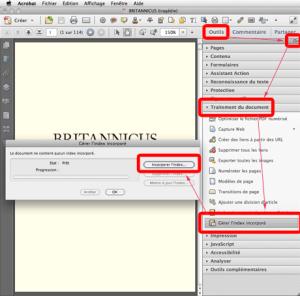 Capture d'écran : incorporer un index dans un Porte-document PDF