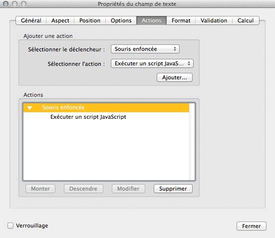 Action souris enfoncée, exécuter un JavaScript