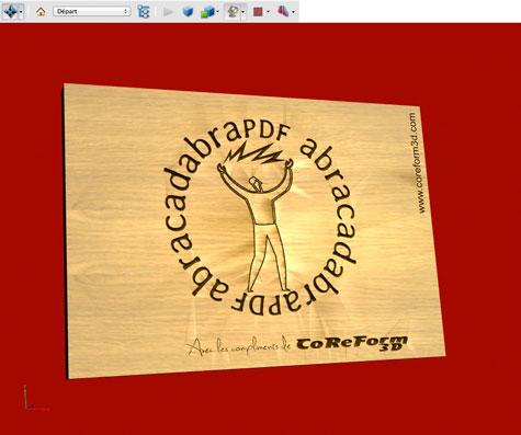 Simulation de gravure en relief et en 3D du logo d'abracadabra PDF et photo de la réalisation finale sur chêne massif lamellé-collé de 19 mm, finition huile de lin.