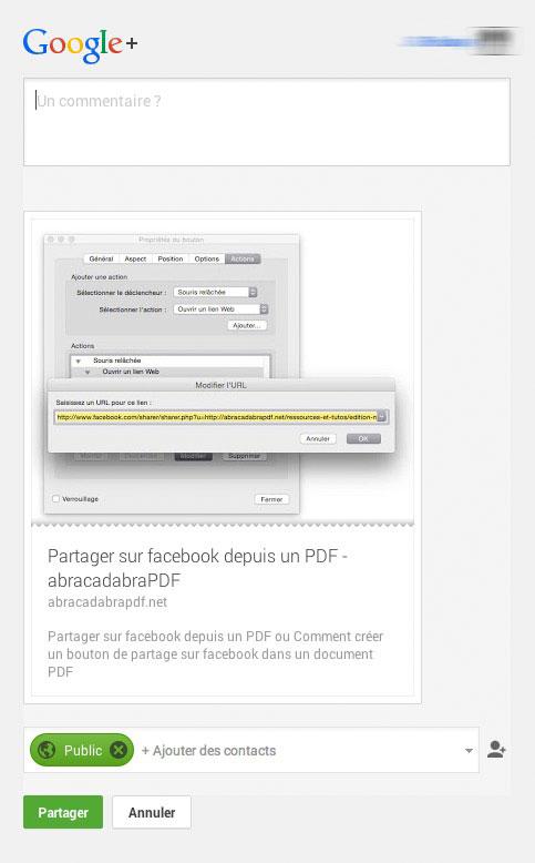 Exemple de message Google+
