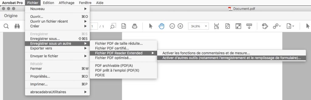 Acrobat Pro - Fichier - Enregistrer sous un autre - Fichier PDF Reader Extended