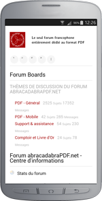 mockup de l'application mobile abracadabraPDF forums