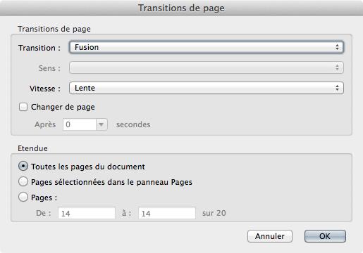La fenêtre Transitions de pages d'Acrobat Pro