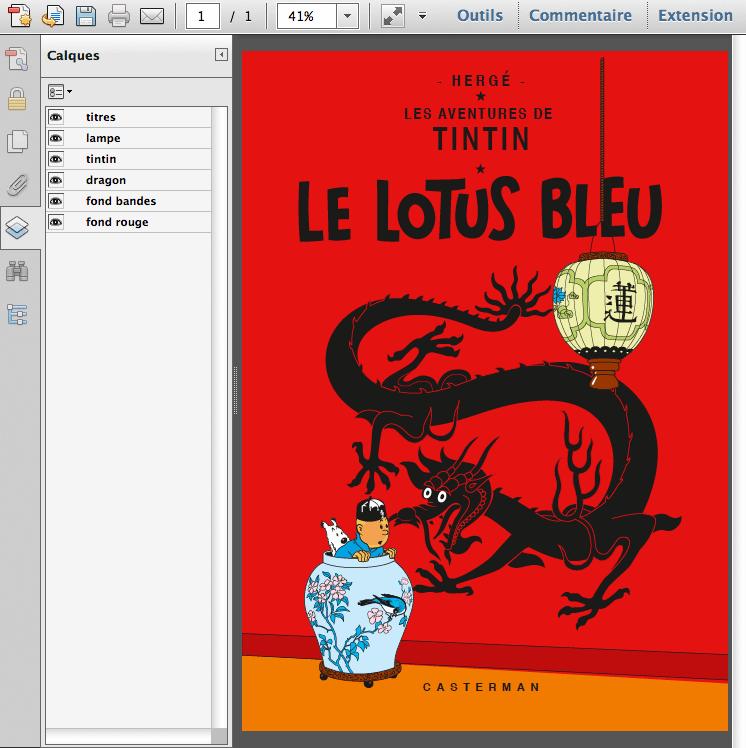 Tintin, Le Lotus bleu, couverture de l'album
