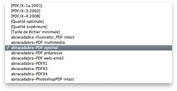 Paramètres prédéfinis d'exportation en PDF pour Adobe Creative Suite