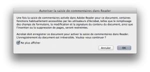 Capture d'écran après activation des commentaires dans Acrobat X