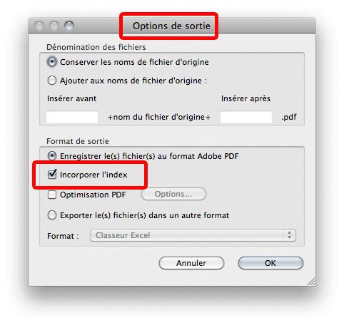 Capture d'écran : index incorporé dans les options de sortie