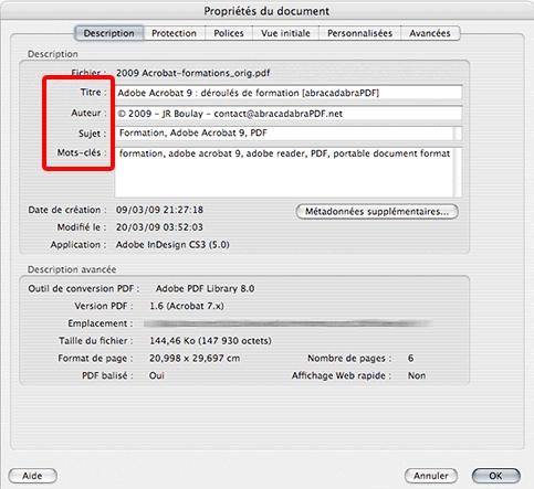 Métadonnées PDF