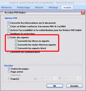 Exporter Signets avec PDF Maker