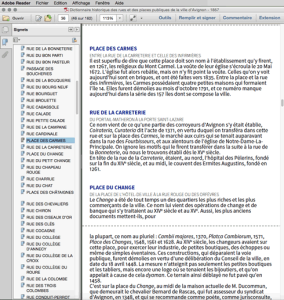 Redistribution du texte avec Adobe Reader