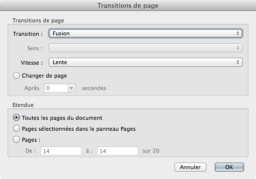 La fenêtre Transitions de pages d'Acrobat Pro
